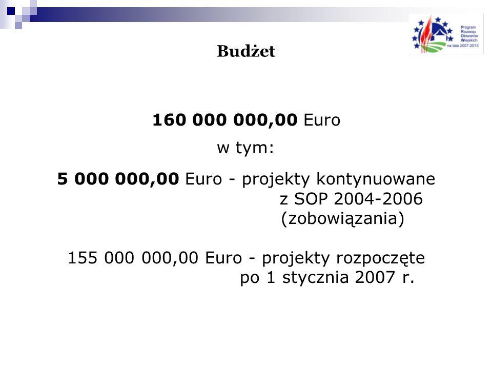 155 000 000,00 Euro - projekty rozpoczęte po 1 stycznia 2007 r.