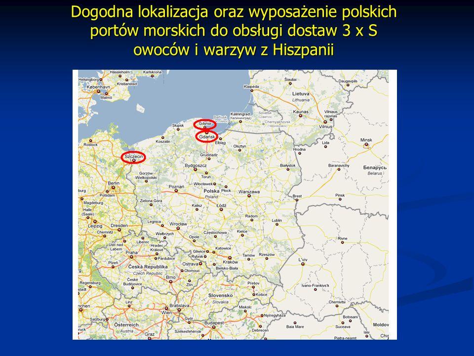 Dogodna lokalizacja oraz wyposażenie polskich portów morskich do obsługi dostaw 3 x S owoców i warzyw z Hiszpanii