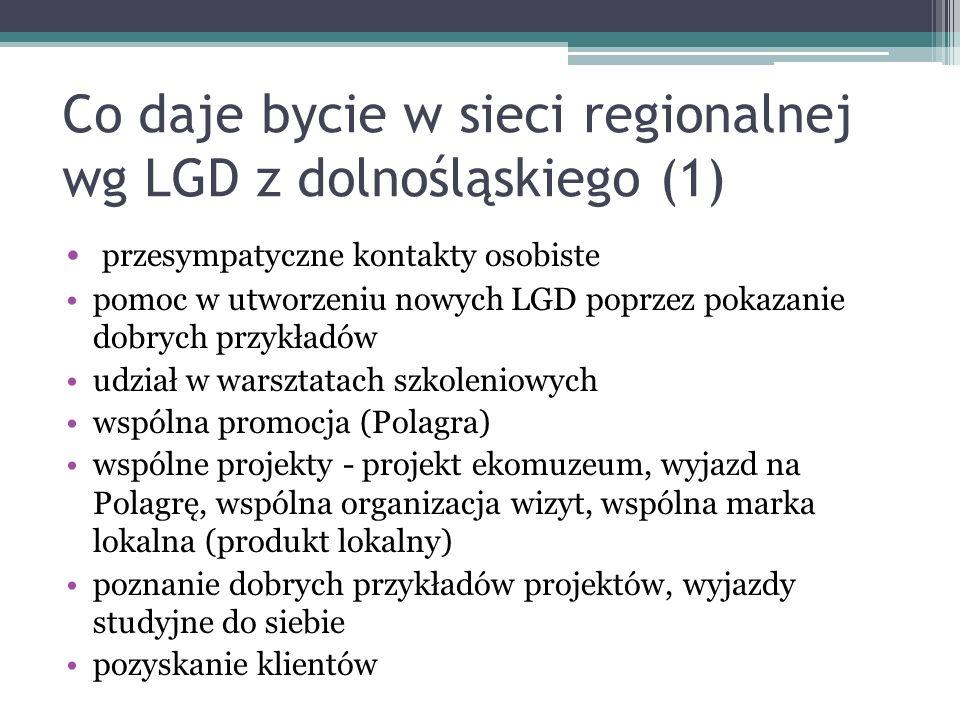 Co daje bycie w sieci regionalnej wg LGD z dolnośląskiego (1)