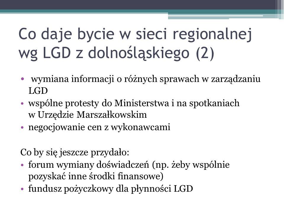 Co daje bycie w sieci regionalnej wg LGD z dolnośląskiego (2)