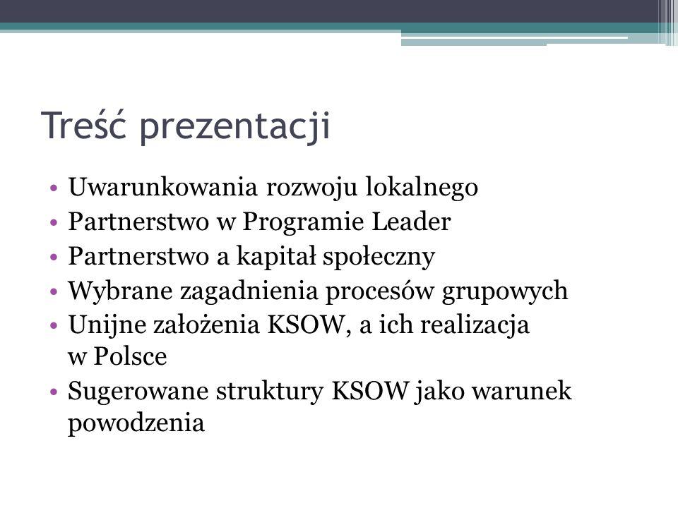 Treść prezentacji Uwarunkowania rozwoju lokalnego
