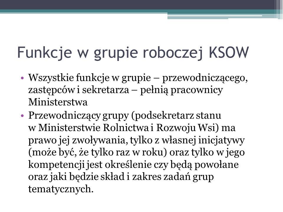 Funkcje w grupie roboczej KSOW