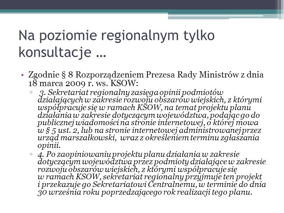 Na poziomie regionalnym tylko konsultacje …