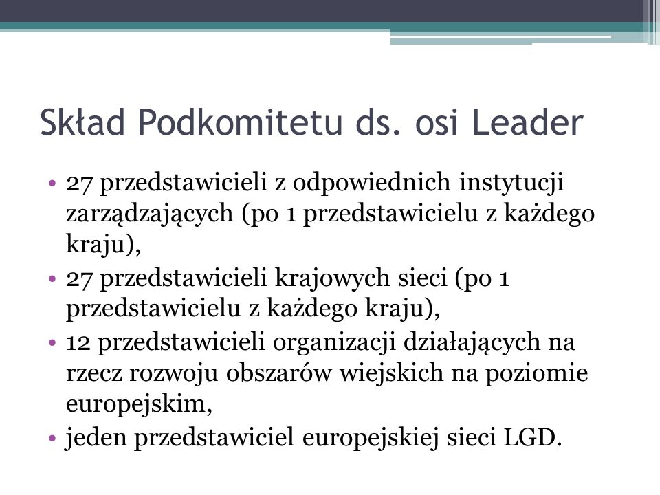 Skład Podkomitetu ds. osi Leader