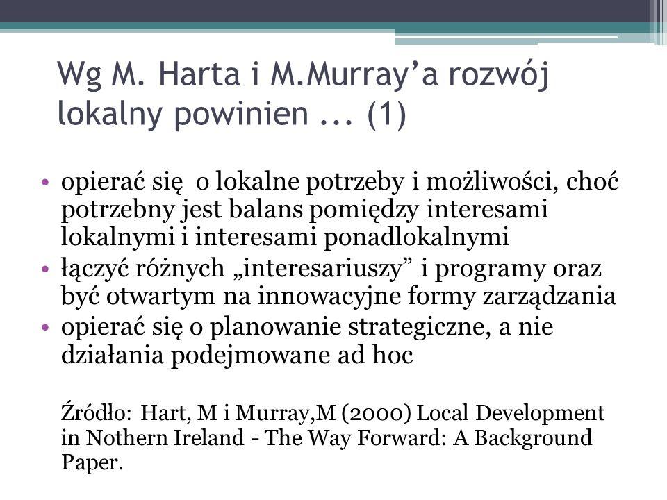 Wg M. Harta i M.Murray'a rozwój lokalny powinien ... (1)