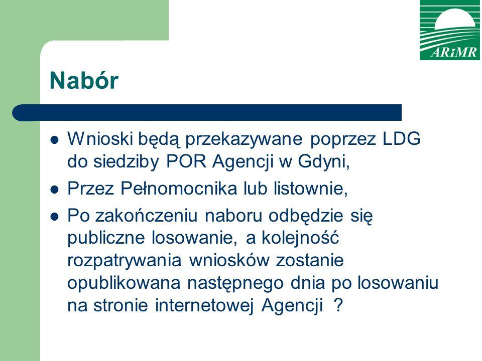 Nabór Wnioski będą przekazywane poprzez LDG do siedziby POR Agencji w Gdyni, Przez Pełnomocnika lub listownie,