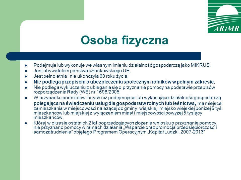 Osoba fizyczna Podejmuje lub wykonuje we własnym imieniu działalność gospodarczą jako MIKRUS, Jest obywatelem państwa członkowskiego UE,