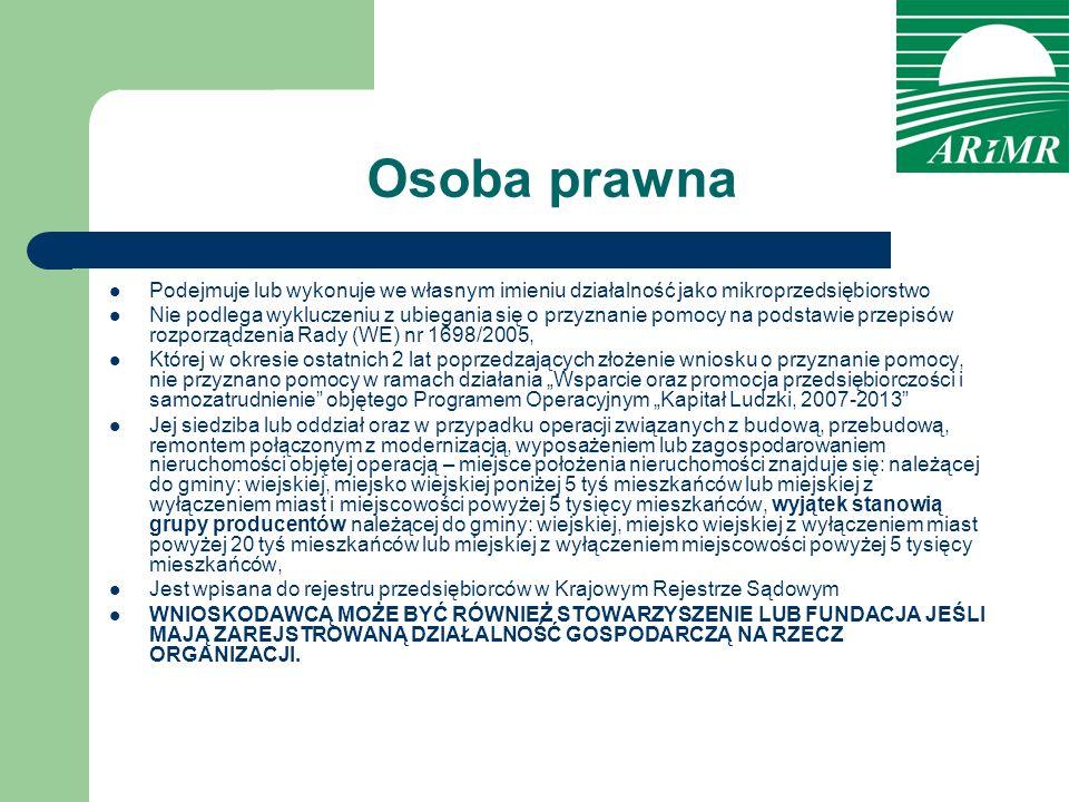 Osoba prawna Podejmuje lub wykonuje we własnym imieniu działalność jako mikroprzedsiębiorstwo.