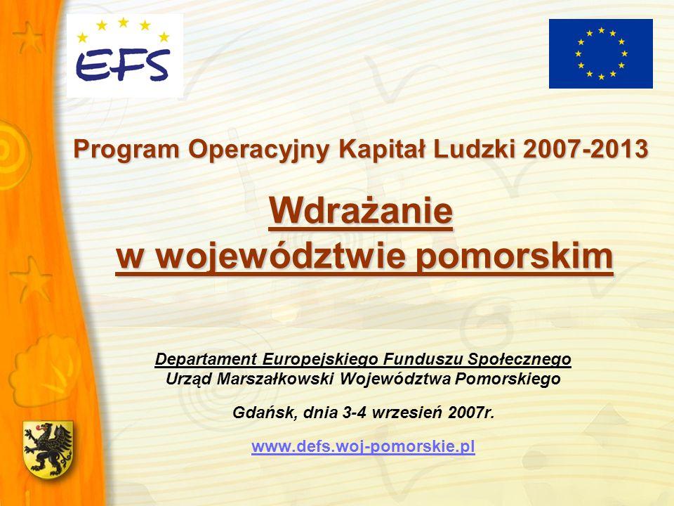 Program Operacyjny Kapitał Ludzki 2007-2013 Wdrażanie w województwie pomorskim
