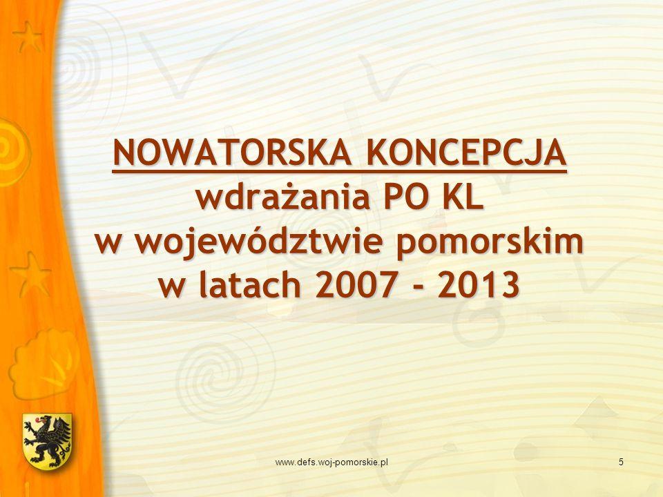 NOWATORSKA KONCEPCJA wdrażania PO KL w województwie pomorskim w latach 2007 - 2013