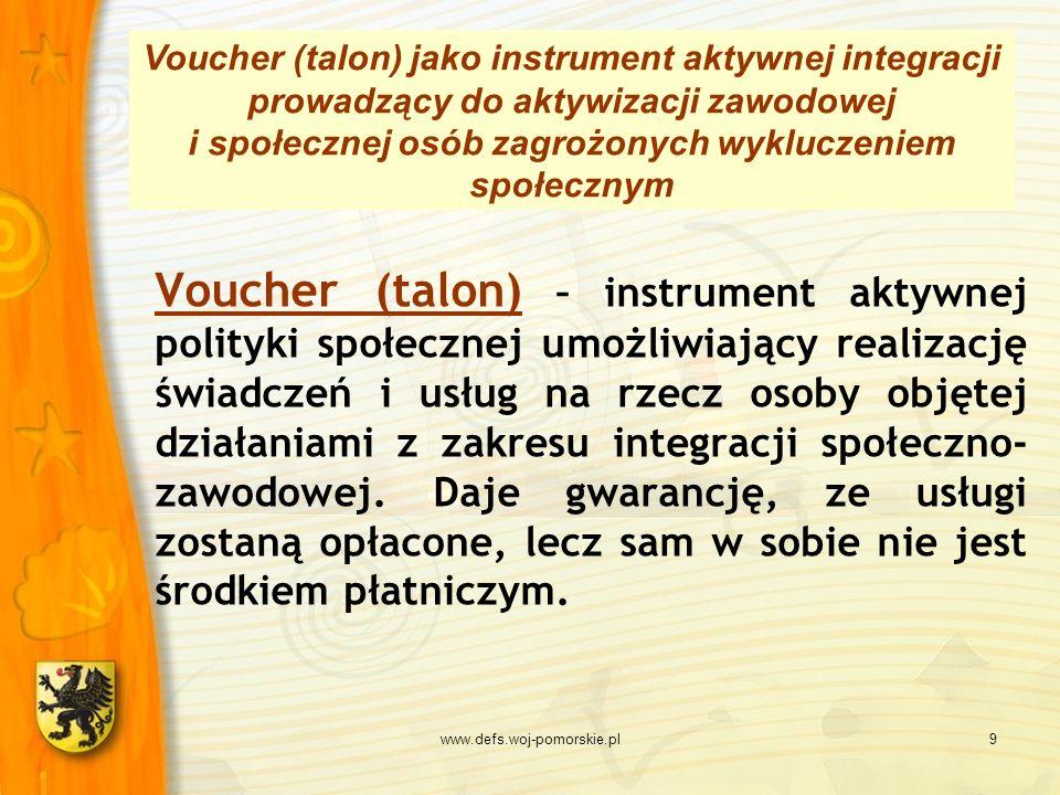 Voucher (talon) jako instrument aktywnej integracji prowadzący do aktywizacji zawodowej i społecznej osób zagrożonych wykluczeniem społecznym