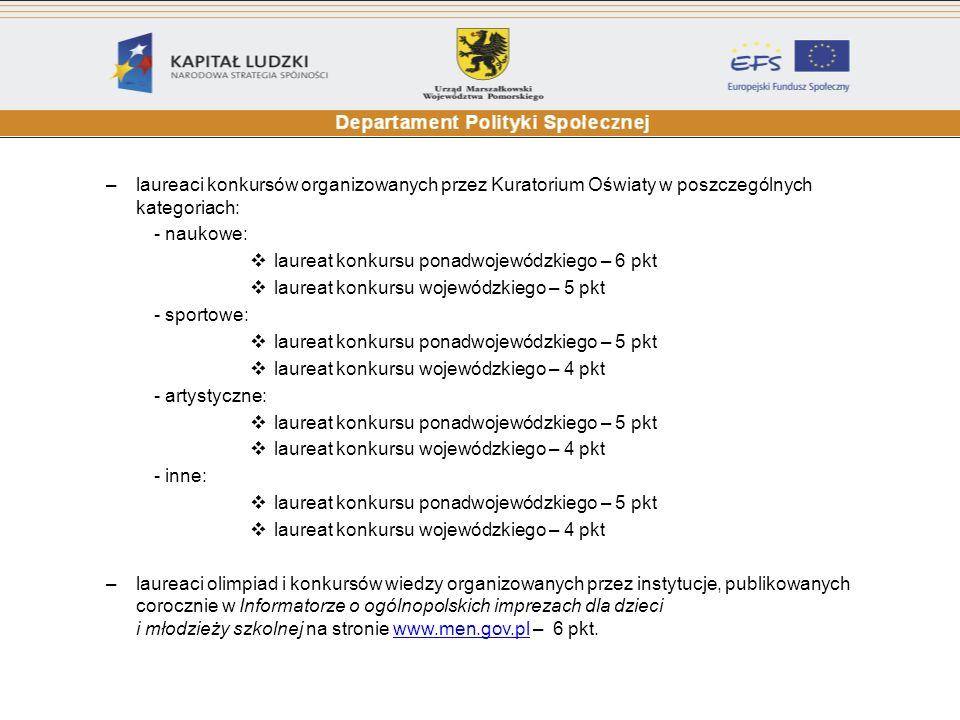 laureaci konkursów organizowanych przez Kuratorium Oświaty w poszczególnych kategoriach: