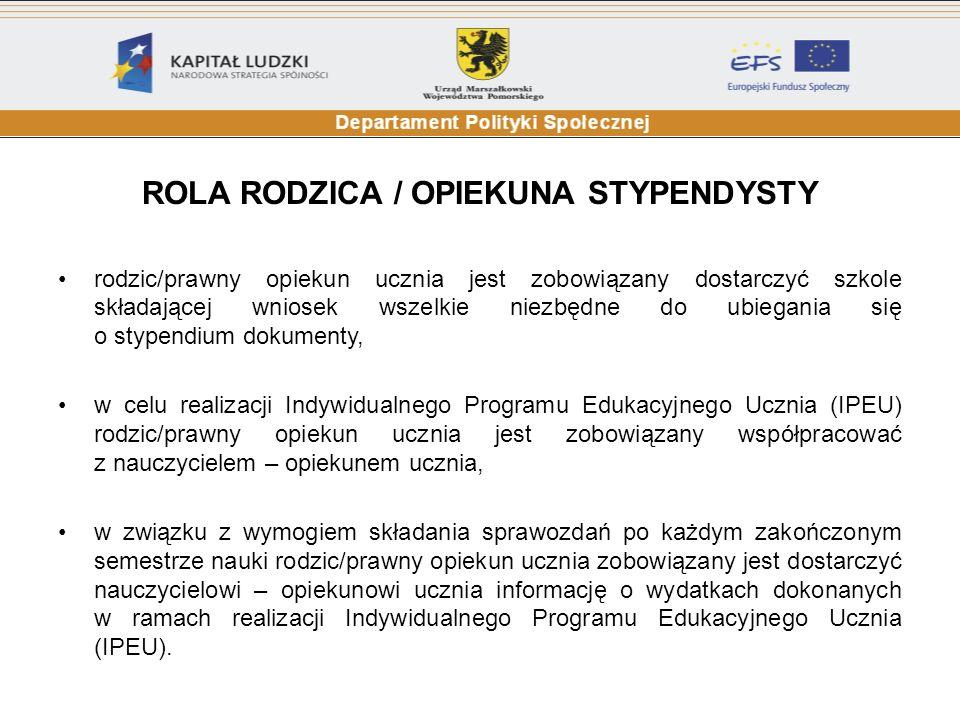 ROLA RODZICA / OPIEKUNA STYPENDYSTY