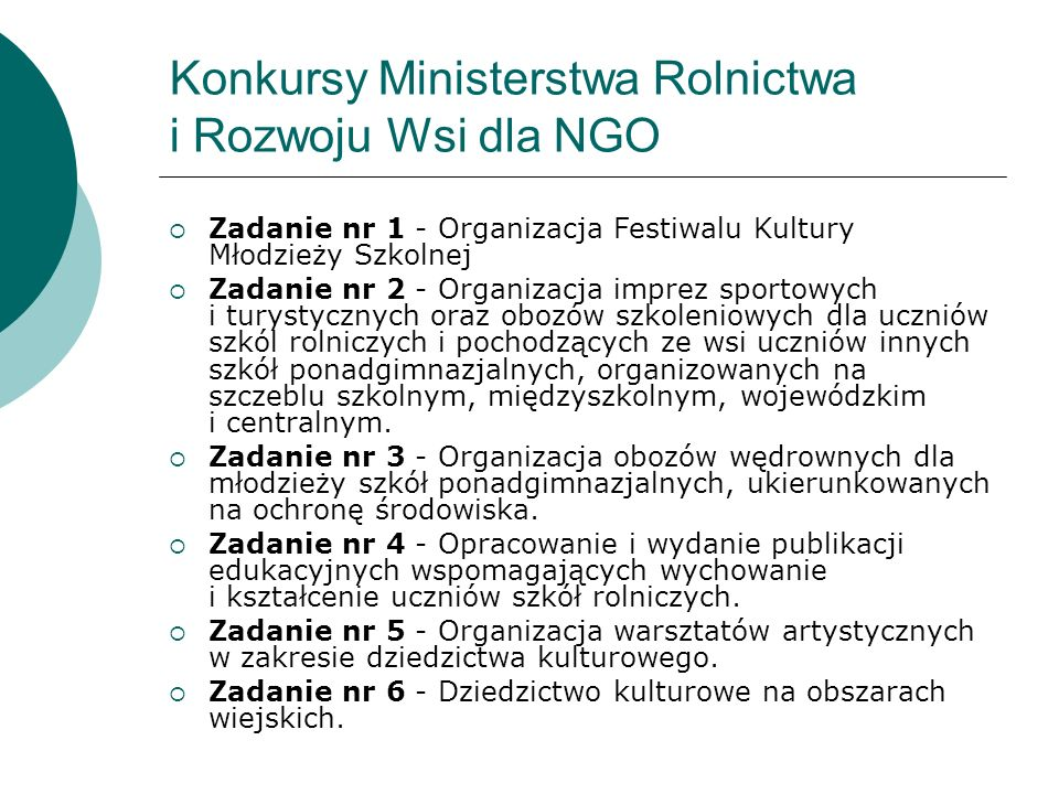 Konkursy Ministerstwa Rolnictwa i Rozwoju Wsi dla NGO
