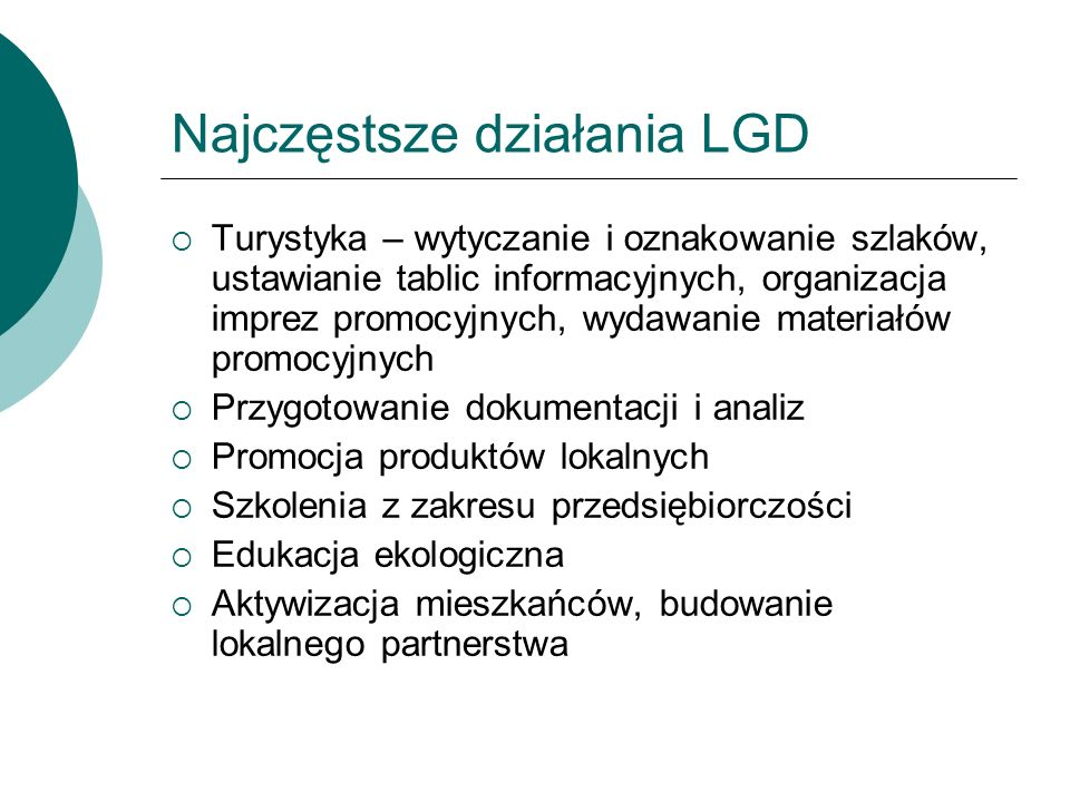 Najczęstsze działania LGD