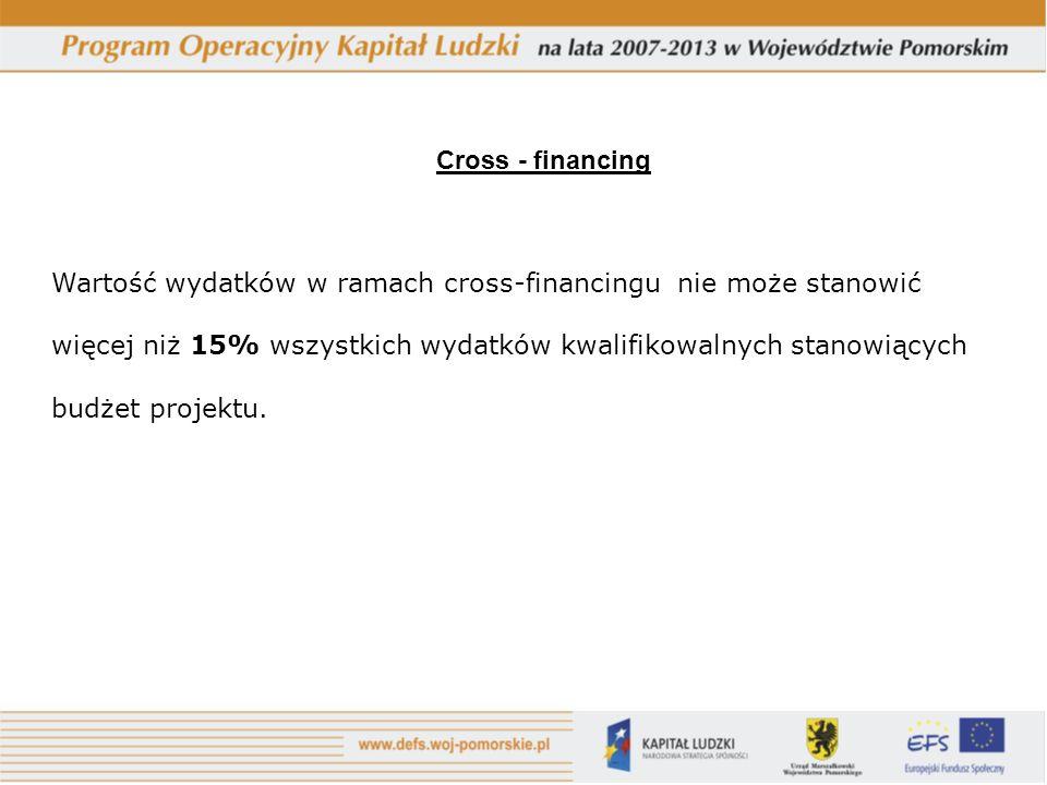 Cross - financing Wartość wydatków w ramach cross-financingu nie może stanowić. więcej niż 15% wszystkich wydatków kwalifikowalnych stanowiących.