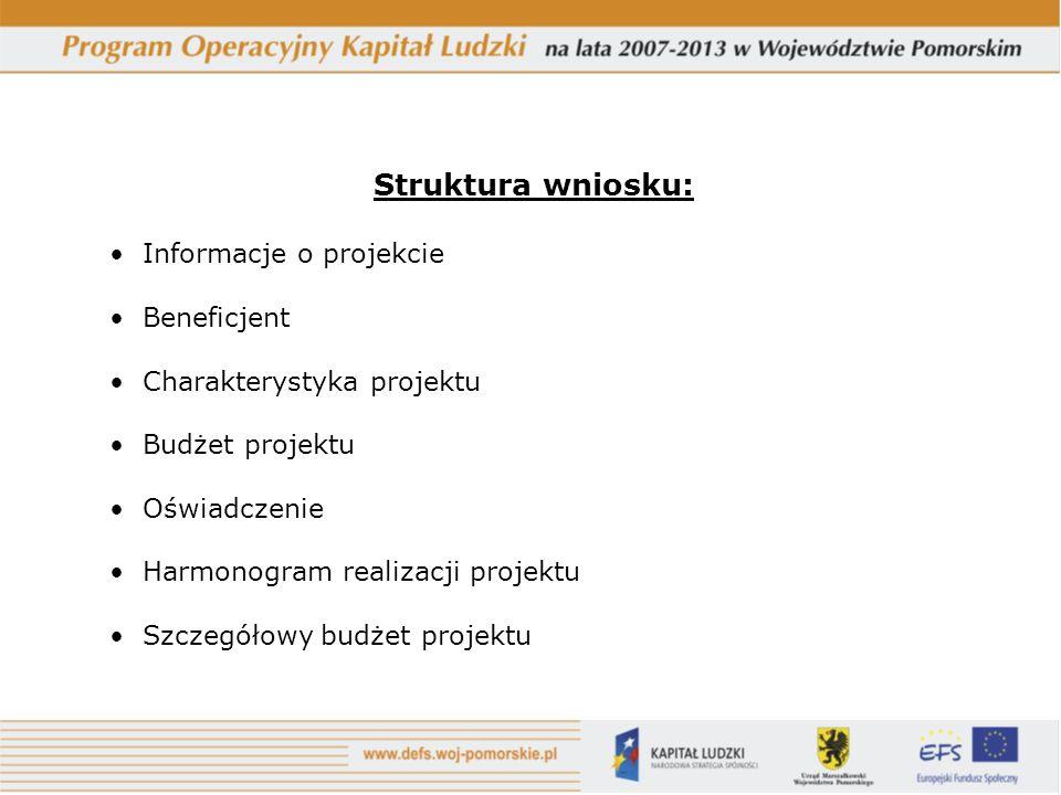 Struktura wniosku: Informacje o projekcie Beneficjent