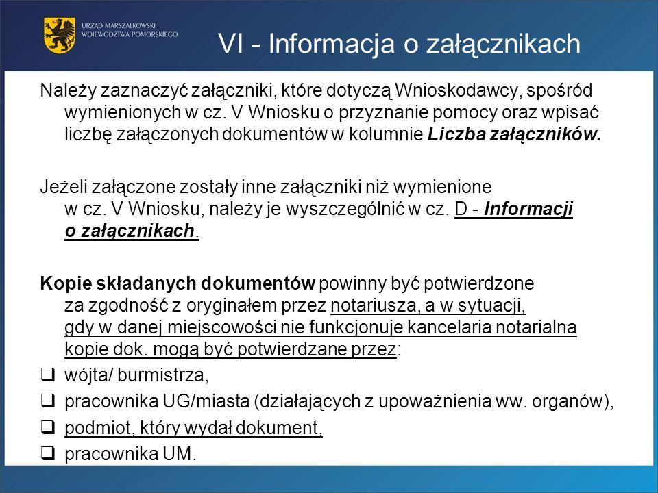 VI - Informacja o załącznikach