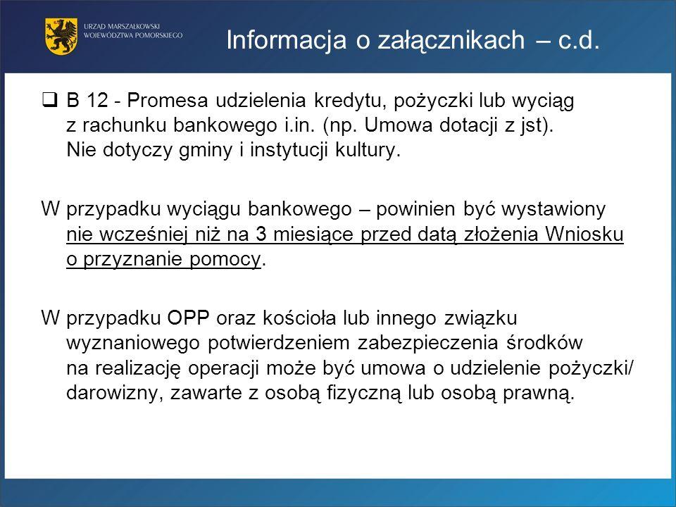 Informacja o załącznikach – c.d.