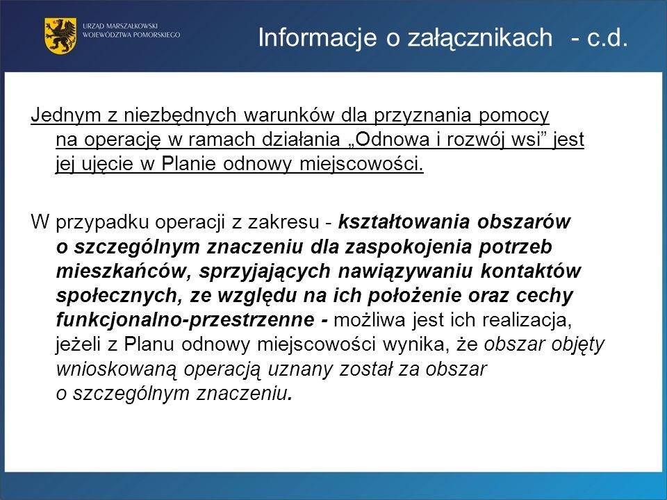 Informacje o załącznikach - c.d.