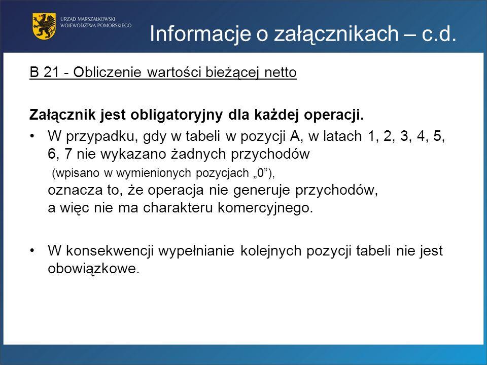 Informacje o załącznikach – c.d.
