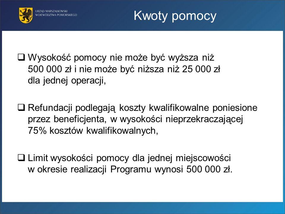 Kwoty pomocy Wysokość pomocy nie może być wyższa niż 500 000 zł i nie może być niższa niż 25 000 zł dla jednej operacji,