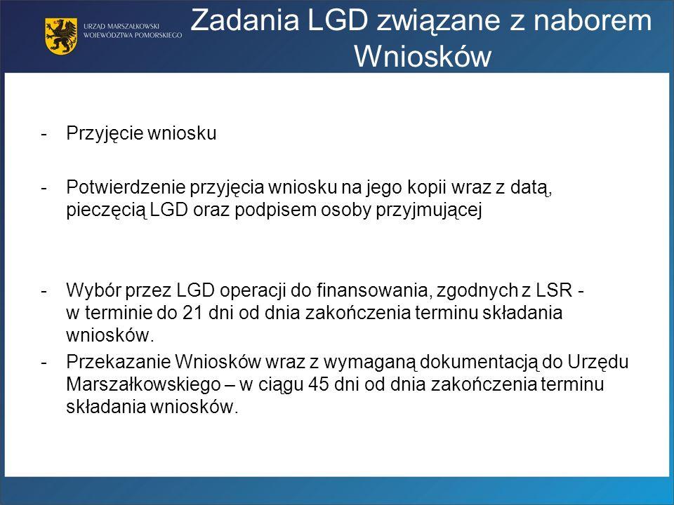 Zadania LGD związane z naborem Wniosków