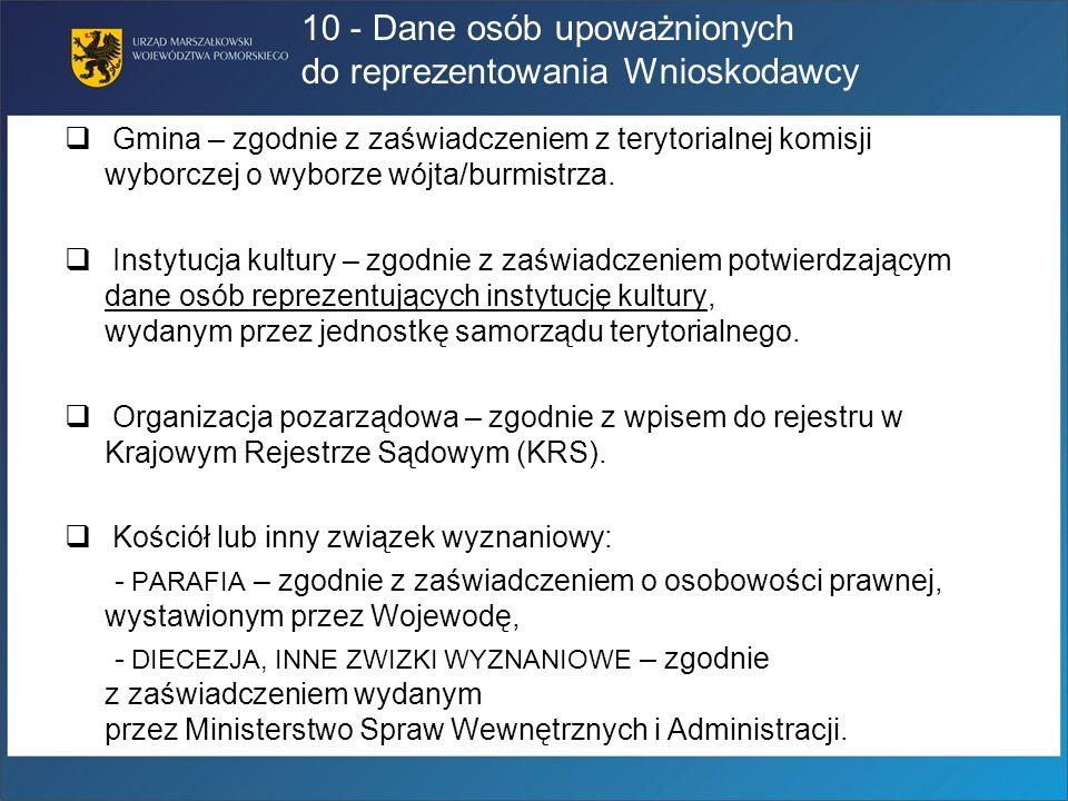 10 - Dane osób upoważnionych do reprezentowania Wnioskodawcy