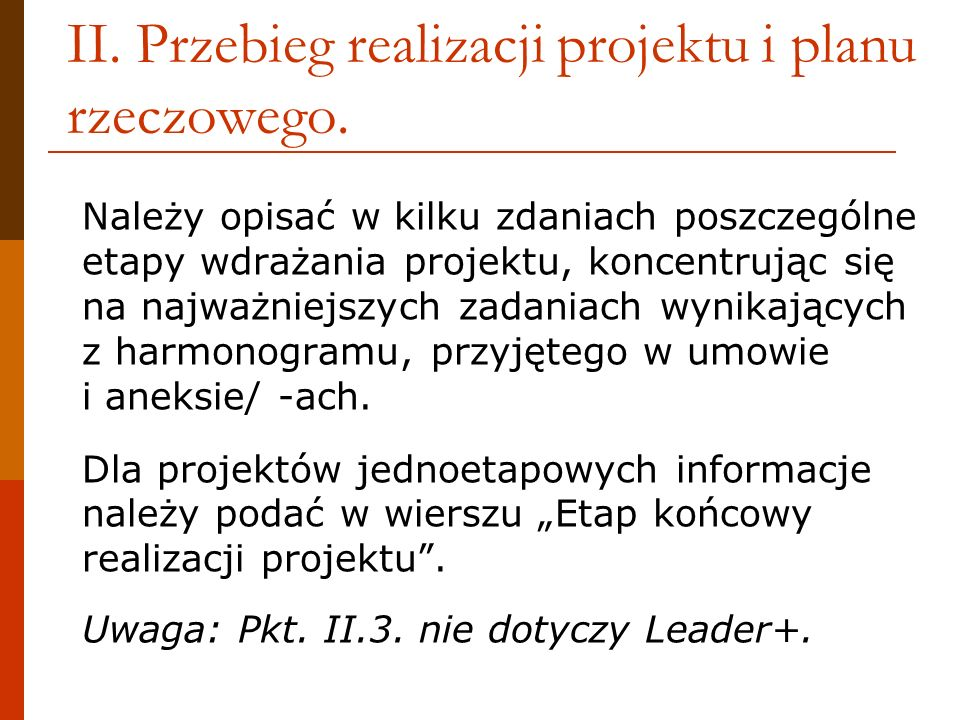 II. Przebieg realizacji projektu i planu rzeczowego.
