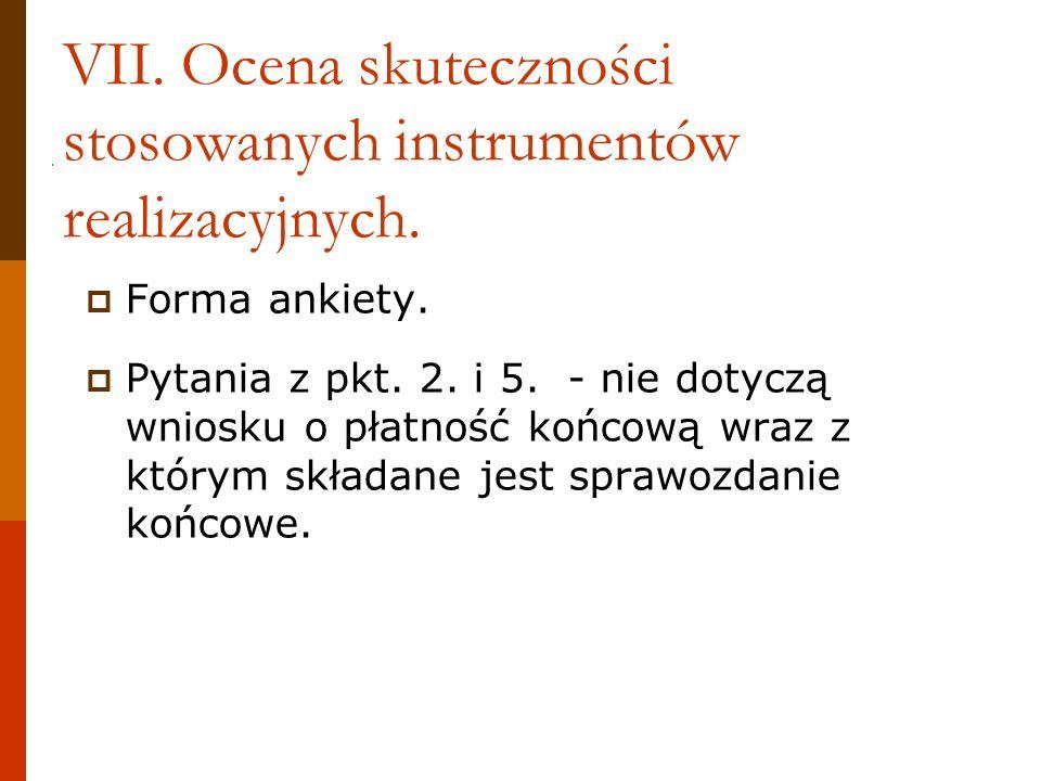 VII. Ocena skuteczności stosowanych instrumentów realizacyjnych.