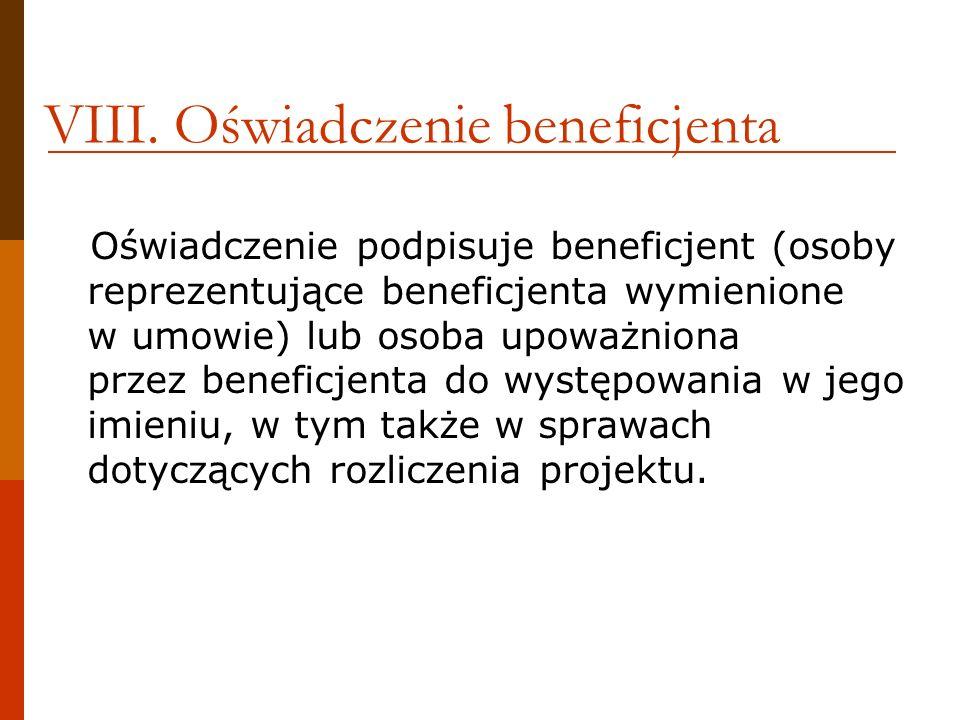 VIII. Oświadczenie beneficjenta