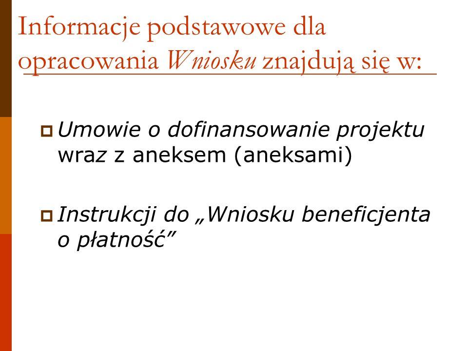 Informacje podstawowe dla opracowania Wniosku znajdują się w: