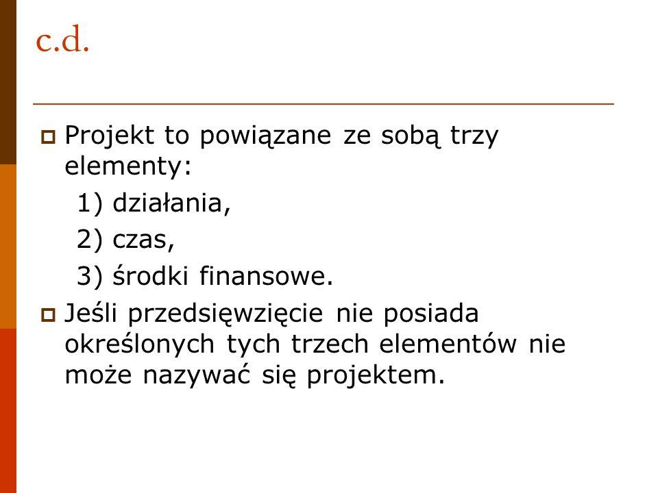 c.d. Projekt to powiązane ze sobą trzy elementy: 1) działania,