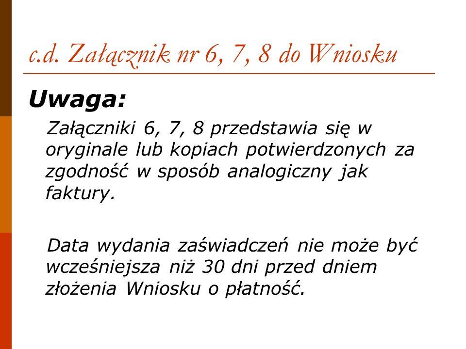 c.d. Załącznik nr 6, 7, 8 do Wniosku