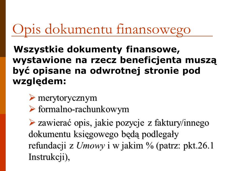 Opis dokumentu finansowego