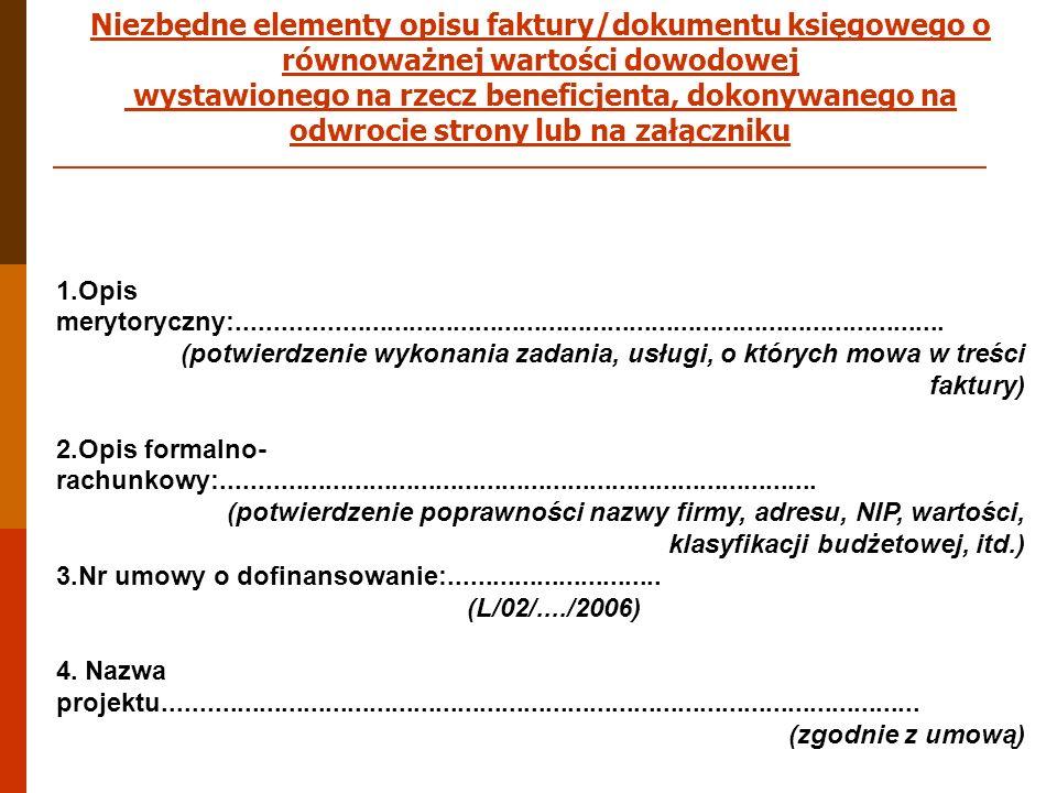 Niezbędne elementy opisu faktury/dokumentu księgowego o równoważnej wartości dowodowej