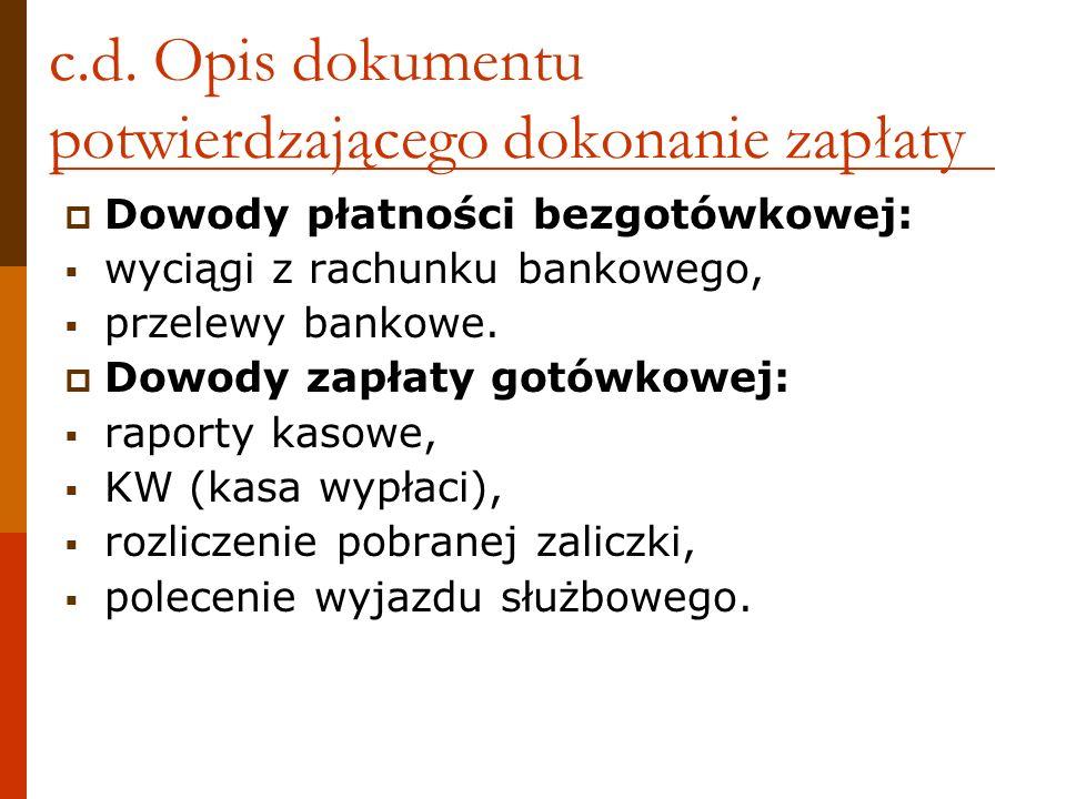 c.d. Opis dokumentu potwierdzającego dokonanie zapłaty