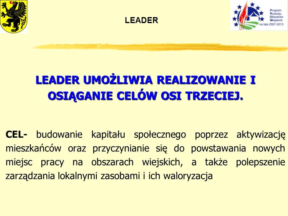 LEADER UMOŻLIWIA REALIZOWANIE I OSIĄGANIE CELÓW OSI TRZECIEJ.