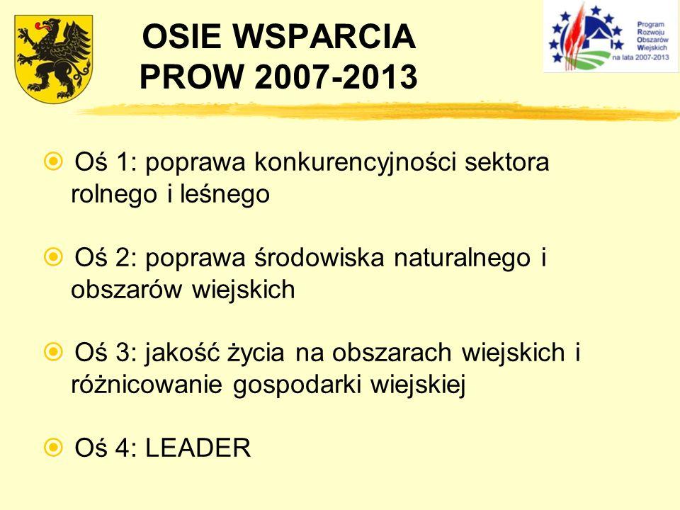OSIE WSPARCIA PROW 2007-2013 Oś 1: poprawa konkurencyjności sektora