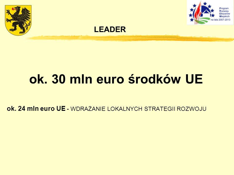 ok. 30 mln euro środków UE LEADER