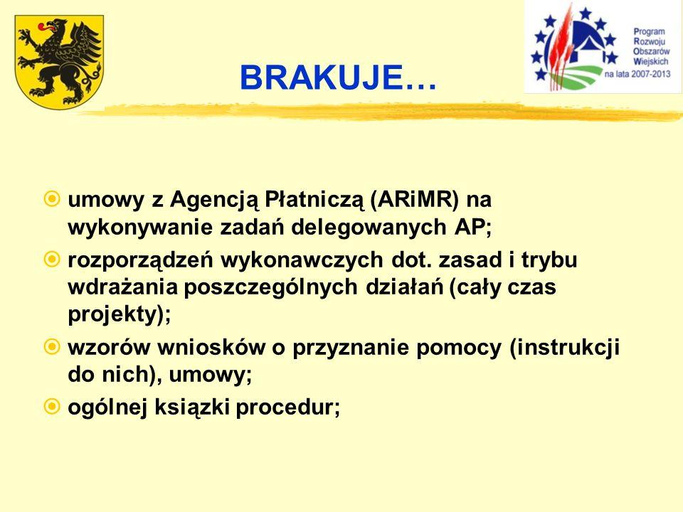BRAKUJE… umowy z Agencją Płatniczą (ARiMR) na wykonywanie zadań delegowanych AP;