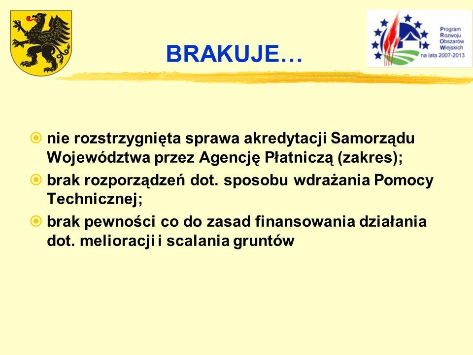 BRAKUJE… nie rozstrzygnięta sprawa akredytacji Samorządu Województwa przez Agencję Płatniczą (zakres);
