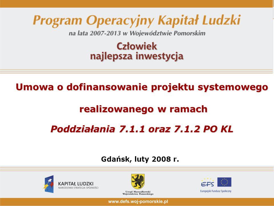 Umowa o dofinansowanie projektu systemowego