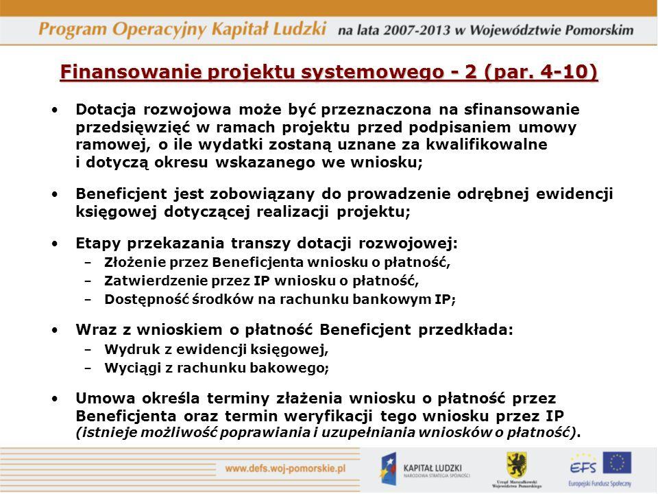Finansowanie projektu systemowego - 2 (par. 4-10)