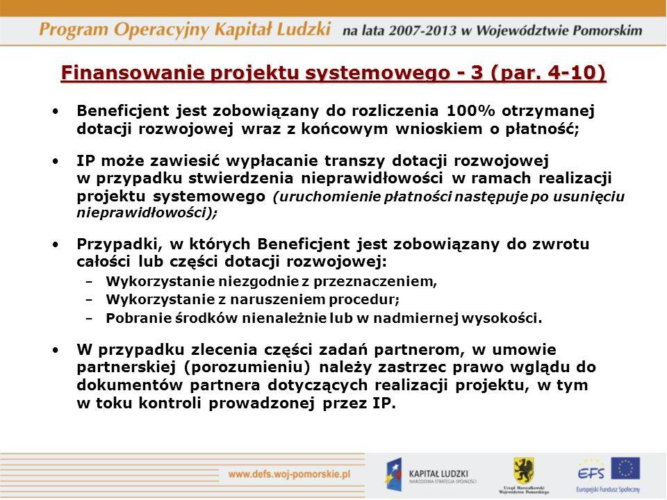 Finansowanie projektu systemowego - 3 (par. 4-10)