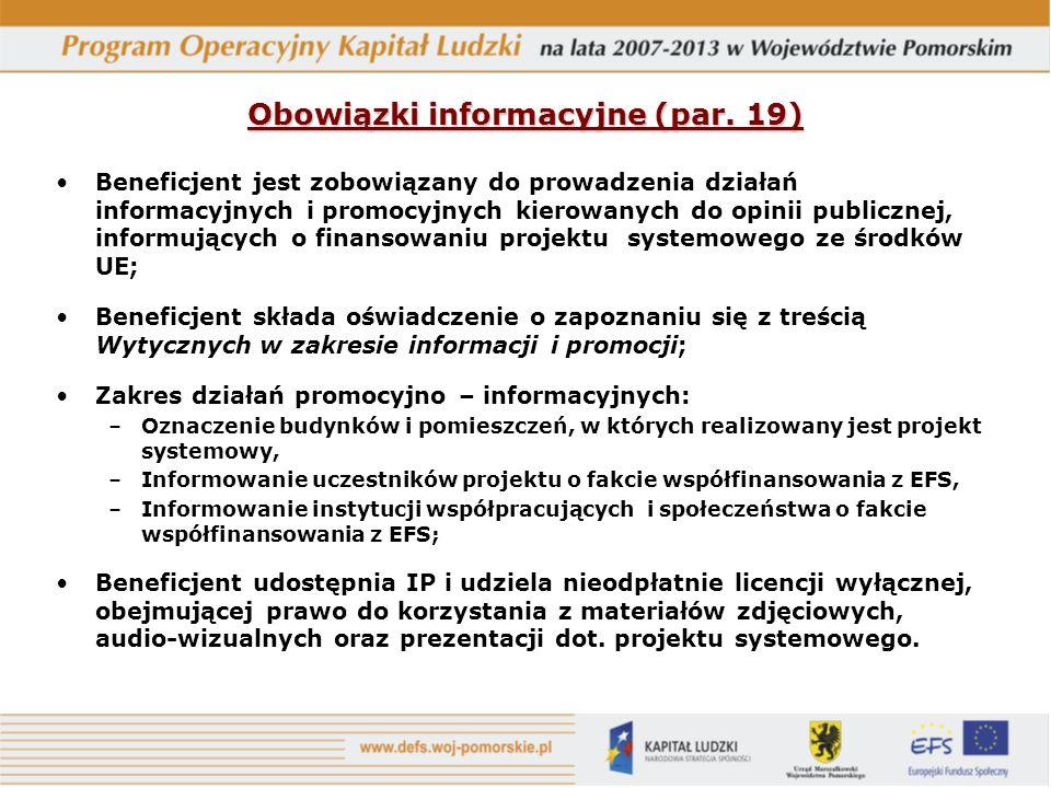 Obowiązki informacyjne (par. 19)