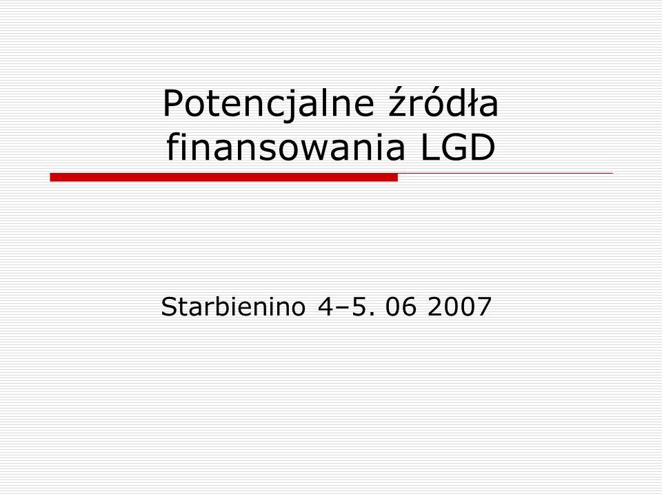 Potencjalne źródła finansowania LGD