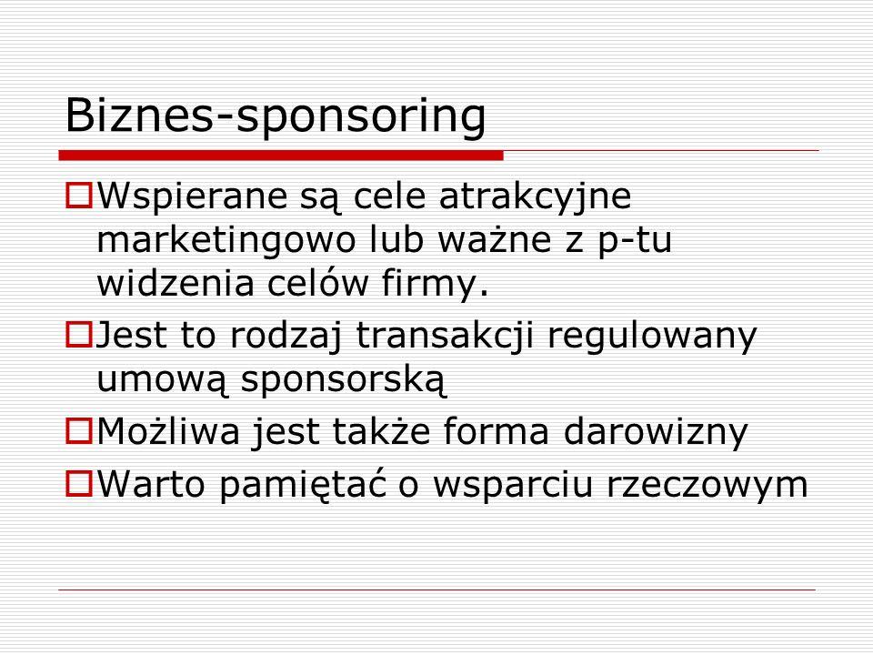 Biznes-sponsoringWspierane są cele atrakcyjne marketingowo lub ważne z p-tu widzenia celów firmy.