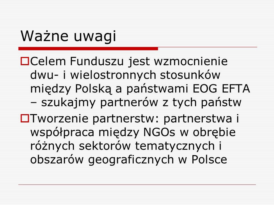 Ważne uwagi Celem Funduszu jest wzmocnienie dwu- i wielostronnych stosunków między Polską a państwami EOG EFTA – szukajmy partnerów z tych państw.