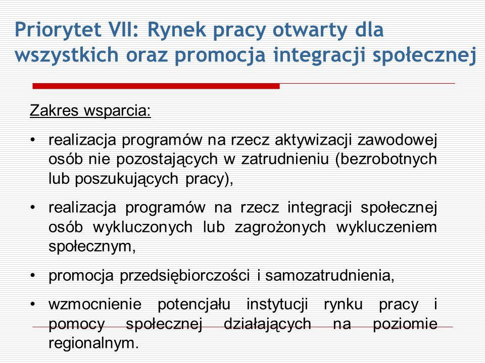Priorytet VII: Rynek pracy otwarty dla wszystkich oraz promocja integracji społecznej